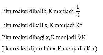 Membandingkan harga kesetimbangan (K) pada beberapa reaksi