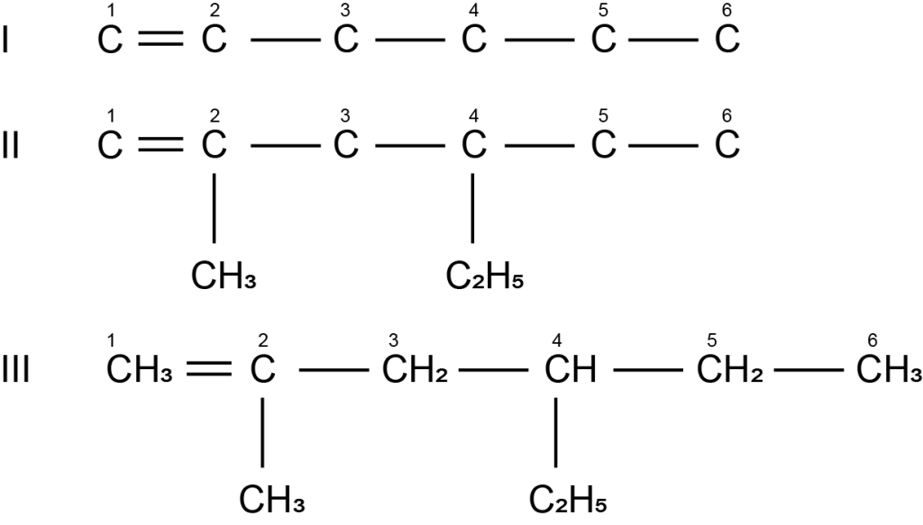 struktur 4-etil-2-metil-1-heksena
